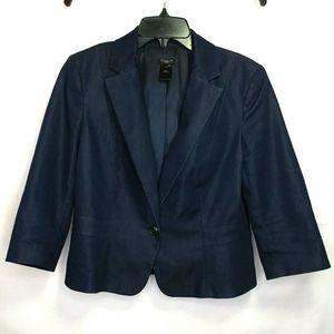 Ann Taylor Navy Blue Suit Blazer Jacket Size 14P